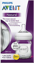 AVENT GLASS NATURAL FEEDING BOTTLE 120ML EASY CLEAN USA OR UK MADE BPA FREE