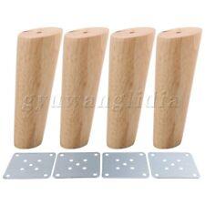 4 pcs 15cm Height Oblique Tapered Wood Furniture Legs Sofa Feet