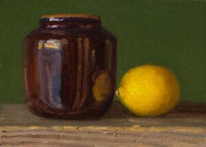 "small original a painting a day realism still life ceramic pot lemon 7x5"" Y Wang"