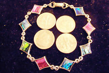 bling sterling silver plated 4 SIDED abalone paua shell hip hop chain bracelet