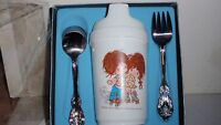 VINTAGE 1974 ONEIDA CHILDREN'S SET URCHINS SIPPY CUP & SILVERPLATED SPOON FORK