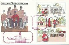 1980 Stamp Week Mini Sheet  on AP Cover Sydpex 6 Oct 1980 2 Postmark Types