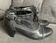 Pavers Jessica Ladies Boots 7 40 Steampunk Ankle Victorian Lace Up Grey Leather