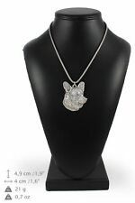 Welsh Corgi Cardigan - silver plated necklace with silver cord, high quality, Ar