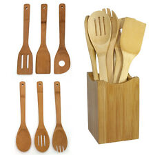 Bamboo Kitchen Utensil Wooden Cooking Tool Spoon Spatula Mixing Set 6 PCS