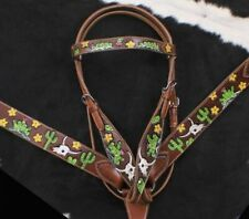 Western Saddle Horse Tack Set w/Cactus + Cow Scull design Bridle + Breast Collar