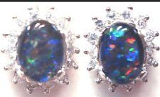 Free Jewellery Box! Natural Opal Triplet Fashion Birthstone Anniversary Earring