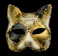 Maschera Di Venezia Gatto Musica Carta Cartapesta Nero Dorata 22329 V78