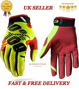 New Cycling Motorcycle Riding Racing Motorcross Bike 100% MTB Gloves YELLOW/RED