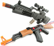 2x Toy Guns Electronic Special Forces Rifle & Friction AK-47 Machine Gun Set