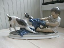 Vintage Large Royal Copenhager Porcelain Boy and Fox Terrier Figurine Signed