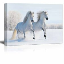 "Canvas Prints- Two Galloping White Welsh Ponies/Horses on Snow Field - 24"" x 36"""
