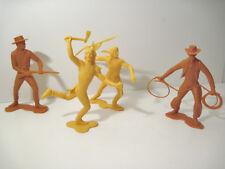"""Vtg 1964 Lot of 4 Jumbo Cowboys & Indians Marx Toys 5"""" + Plastic Western rifle"""