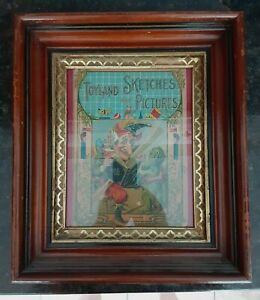 "1890s Walnut Wood Victorian Eastlake Picture Frame Gilt Carved 12"" x 14"""