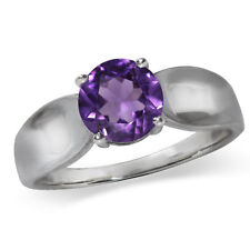 1.19ct. Natural Amethyst 925 Sterling Silver Solitaire Ring
