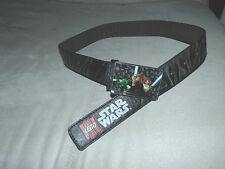 Star Wars Lego black belt fits 23 - 27  waist bonded leather figures on buckle