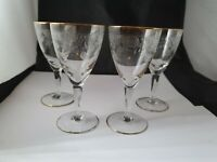 Vintage Possibly Fostoria Port Sherry Etch Lace Gilded Glasses X 4