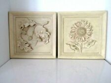 Resin Wall Plaque 3D Sunflower Floral Set of 2