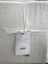 (4) Piece Pottery Barn Hemp Cotton Stripe Sheet Set - Natural / Desert - Queen