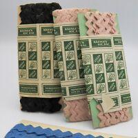 Vintage Kresges Green Oak Ric Rac Trim 3 Partial Packages Pink Black Blue 1950s