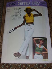 1975 SIMPLICITY #6917- LADIES RETRO ~ HOW TO SEW ~ HALTER TOP & HAT PATTERN 8-10