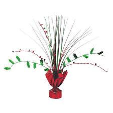 "12"" Holly Metallic Foil Spray Christmas Centerpiece Table Decoration"