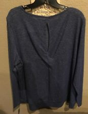 Chaps Woman Blouse Top Blue with Keyhole Twisted Back and Banded Bottom Size 2X