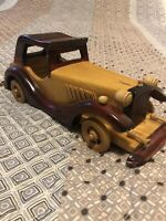 Vintage Wooden Handcrafted Antique Classic Car Model Handmade and Collectible