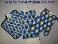 Kitchen Pot Holder Dish Towel Oven Mitt PICK Blue Green Navy Ivory Diamonds T31a
