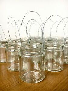 Hanging glass jar tea light lantern candle holder wedding shabby chic 190ml Vase