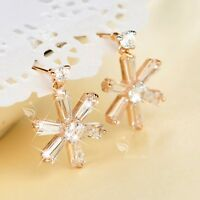 18k yellow gold made with SWAROVSKI crystal stud snowflake earrings dangle