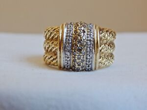 AWESOME!!! DAVID YURMAN  18K GOLD 3 ROW DIAMONDS 3 ROW CABLE RING  12.7 GRAMS!!!