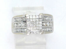 Diamond Right Hand Ring 4.30ct 7.7g 14k White Gold Princess, Baguette, and Round