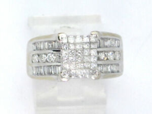 14k White Gold Princess, Baguette, and Round Diamond Right Hand Ring 4.30ct 7.7g