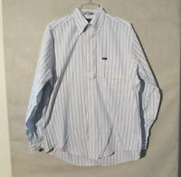 S4881 Faconnable Men's Medium White/Blue Striped Long Sleeve Button Up Shirt