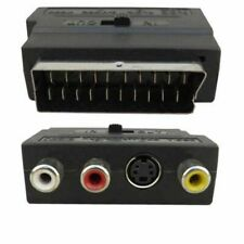 SCART To 3 RCA Composite Phono SVHS S-Video Adaptor with In Out Switch Converter