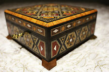 Wooden Mosaik Jewellery Box handmade with mother-of-pearl,Damaskunst K 1-9-42