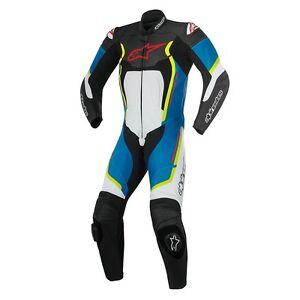 Alpinestars Motegi v2 1PC Noir/Blanc/Bleu / Jaune Cuir Moto Suit