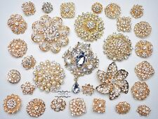 30 Gold Brooch Lot Rhinestone Crystal Pearl Pin Mixed Wedding Bouquet Bridal DIY