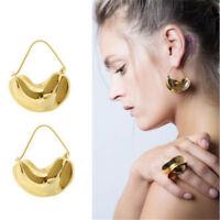 Fashion Irregular Leaf Metal Large Hoop Earrings for Women Big Hoop Earrings