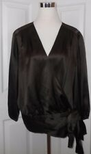Talbots Woman Women's size 20w Brown 100% Silk Wrap Blouse Shirt Top 20