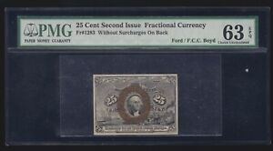 US 25c Fractional Currency Note w/o Surcharges FR 1283 PMG 63 EPQ