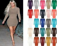 Womens Ladies Stretchy T Shirt Long Sleeve Bodycon Plain Jersey Mini Dress 8-26