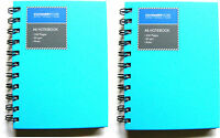 2 x SMALL BLUE A6 SPIRAL BOUND HARDBACK NOTEBOOK NOTE BOOK PAD - RULED 200 PAGES