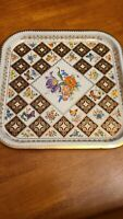 Vtg Daher England Serving Tray Ware Floral Butterfly Square Tin 13 x 13 gold