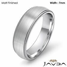 7mm Plain Men Wedding Band Dome Milgrain Solid Ring Platinum 15.5g Size 11-11.75