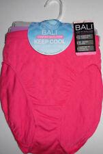 3 Bali Nylon HI Cut Brief Panty Set Soft Seamless 10/11 Pink Purple Gray NWT