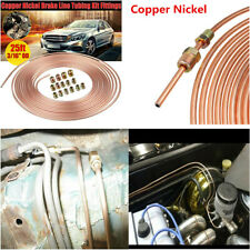 "Copper Nickel Car Brake Line Tubing Kit 3/16"" OD 25 Ft Coil Rolls With Fittings"