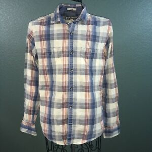 EXPRESS Men's Long Sleeve Button Down Flannel Shirt, Red/Blue/Multi, S 14-14/5