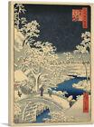 The Drum Bridge and Sunset Hill at Meguro Canvas Art Print Utagawa Hiroshige